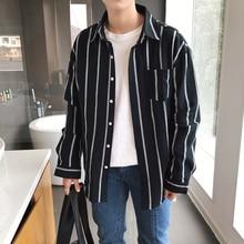 цены на 2019 Spring Men's Wear Vertical Stripe Concise men Shirt Long Sleeve Shirt streetwear camisa hombre Free shipping в интернет-магазинах