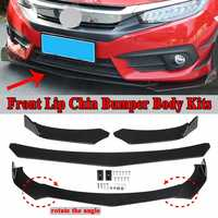 Universal 3 Pcs Car Black Front Bumper Spoiler Lip Body Kits Rotate The Angle New For Honda For Civic For Benz For BMW For Audi
