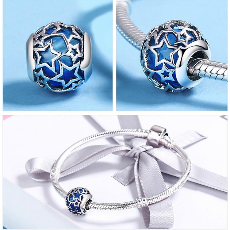 BAMOER 925 Sterling Sølv Radiant Hjerter, Himmelblå Crystal & Clear - Mode smykker - Foto 6
