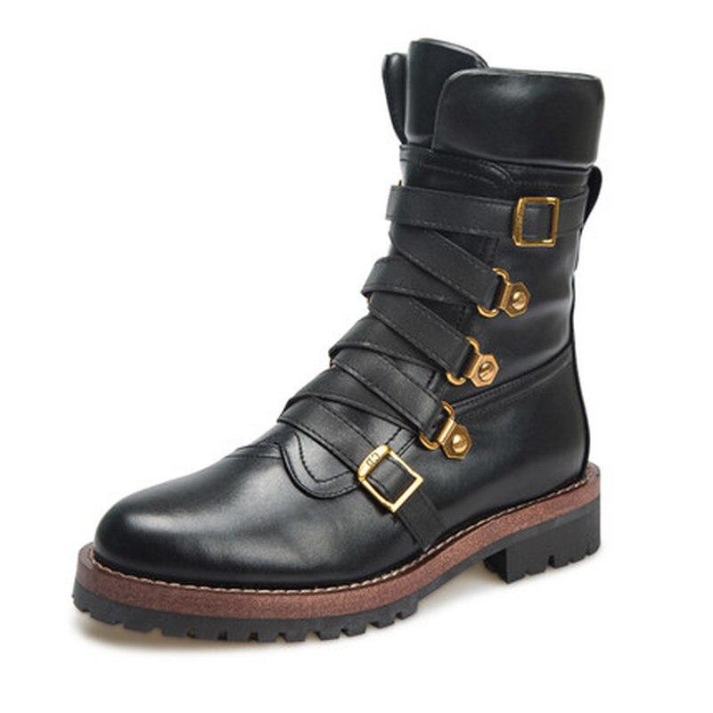 Véritable cuir noir peau de vache bottines femmes chaussures mode métal boucle bottes de Combat pour les femmes chaussures de luxe dame bottes