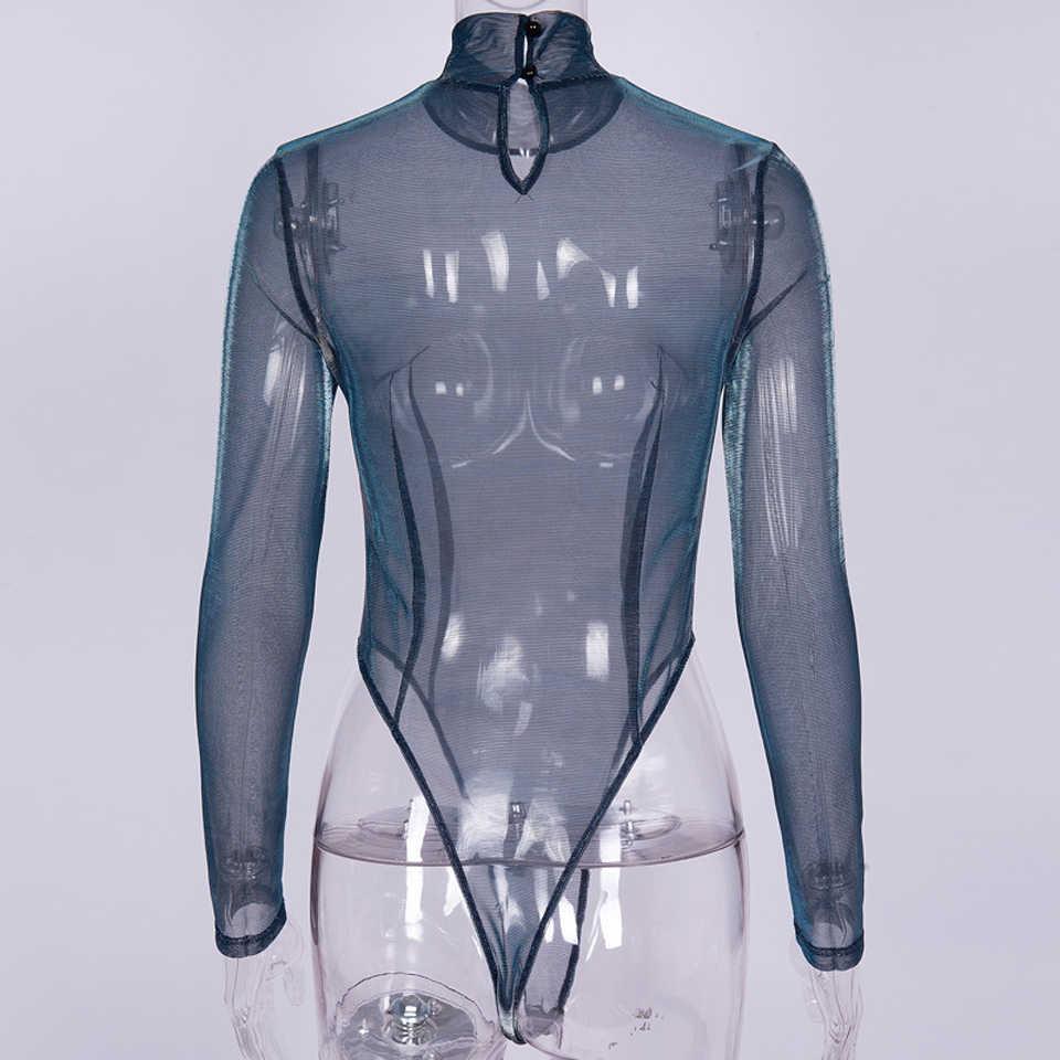 Karlofea пикантные прозрачный, блестящий сетки комплект для женщин модная одежда с длинными рукавами посмотрите на дешевое наряды Боди Топы Тонкий облегающие комбинезоны