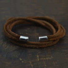 цена на New Fashion Jewelry Hot Sale 3mm Leather Rope Charm Wrap Men's Magnetic Bracelet Gift Free Shipping