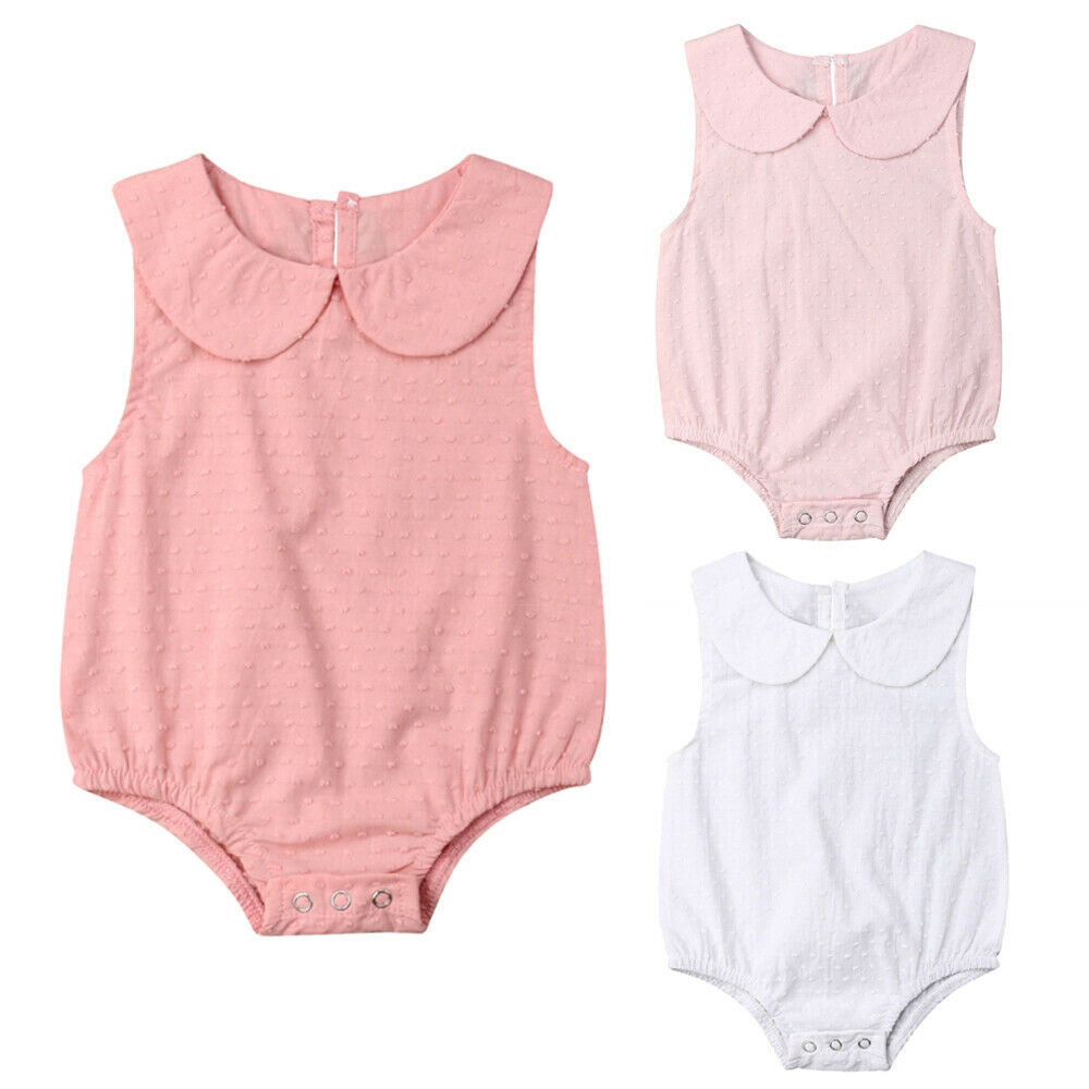 Cute Newborn Baby Girl Clothes Sleeveless Peter Pan Collar Solid Color Cotton   Romper   Jumpsuit Outfits Sunsuit Summer
