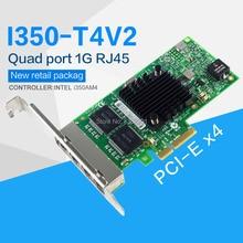 FANMI I350 T4V2 4 منافذ جيجابت إيثرنت PCI Express X4 إنتل I350AM4 خادم محول بطاقة الشبكة