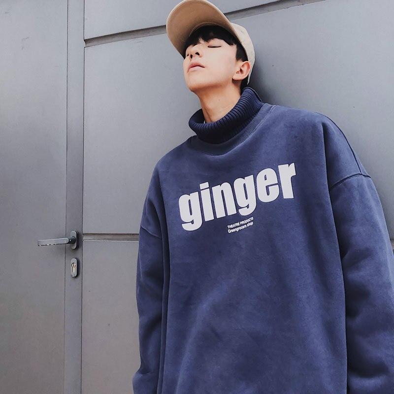 새로운 겨울 플러스 벨벳 닦았 칼라 캐주얼 스웨터 재킷 블루/카키/블랙/그레이 M XL 2018 한국어 버전-에서후드티 & 스웨터부터 남성 의류 의  그룹 3