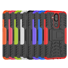 лучшая цена For Nokia X7 Heavy Duty Armor Shockproof Hybrid Stand Case For Nokia 7.1 Plus / X7 Daul Color Cover Defender 6.18inch