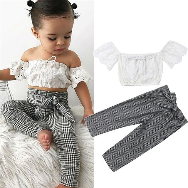 2019 baby girl clothes set lace crop top vest+bow lace up plaid pants set baby clothes girl summer clothing 2pcs