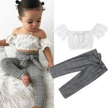2019 conjunto de ropa de niña de encaje crop top chaleco + bow lace up plaid pants set ropa de bebé niña verano ropa de 2 piezas