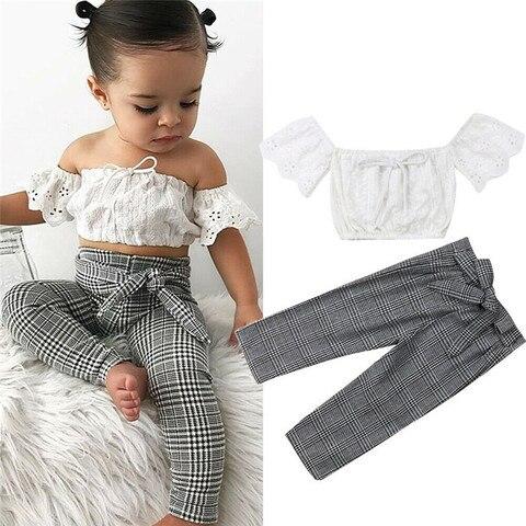 2019 do bebe roupas de menina set top colheita rendas colete arco rendas ate calcas