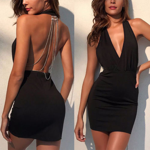 Sexy Women Dresses Summer  Backless Deep V Rhinestone Bodycon Sleeveless Halter Party Club Mini Dress