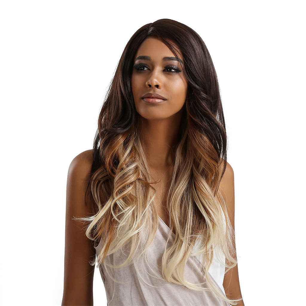 Lace Front Wavy Wig Synthetic Natural Long Curly Wigs Loose Body Wave Wigs Heat Resistant Fiber Full Wigs for Black Women fashion woman s wig long body wave lace front synthetic hair black color heat resistant page 8