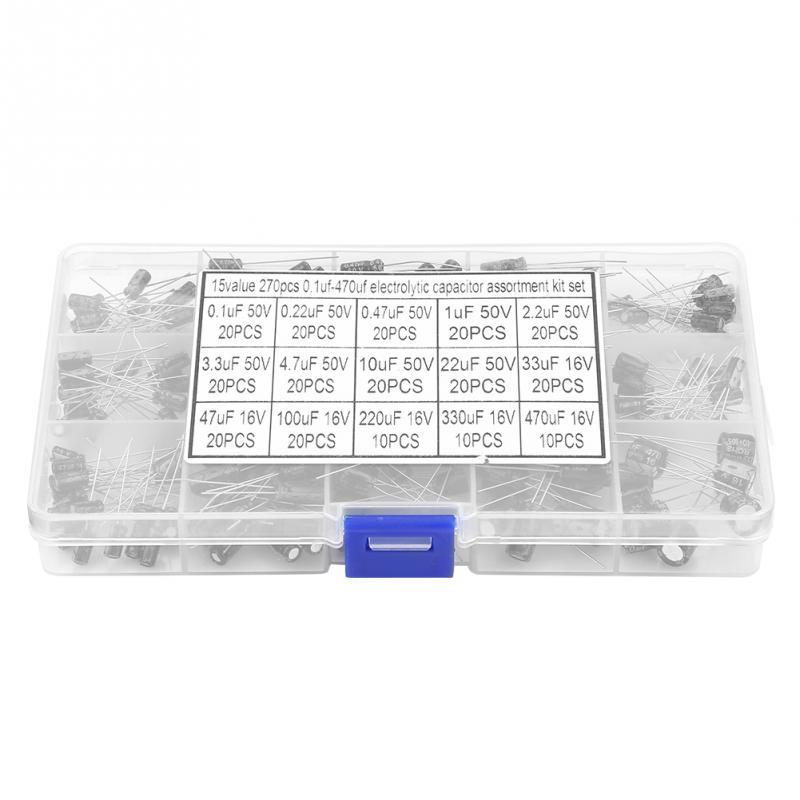 270PCS MCIGICM 15 Value Electrolytic Capacitors 0.1uF-470uF