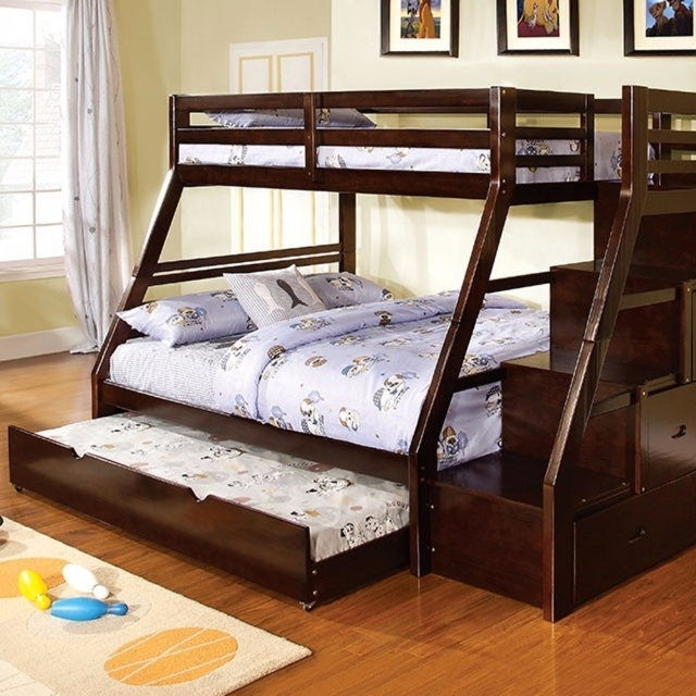 Wooden Twin/full Bunk Bed with built-in drawers