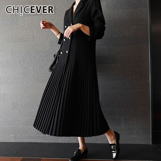 CHICEVER Patchwork Chiffon Blazer Dress Female Long Sleeve Double Breasted Pleated Dresses Autumn Korean Fashion Clothing New