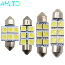 2X White Car Led 31mm 36mm 39mm C5w c10w 5050 6 smd DC 12v Interior Festoon Dome Car Light Luggage Lamp Reading Bulb Door Light festoon 39mm 6w 420lm 6 cob led white light car auto reading lamp dome bulb 12v 2 pcs