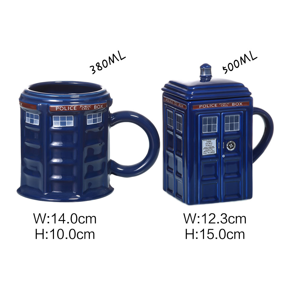 Image 3 - Doctor Who Tardis Police Box Ceramic Mug Cup With Lid Cover For Tea Coffee Mug Funny Creative Gift Christmas Presents Kids Men-in Mugs from Home & Garden