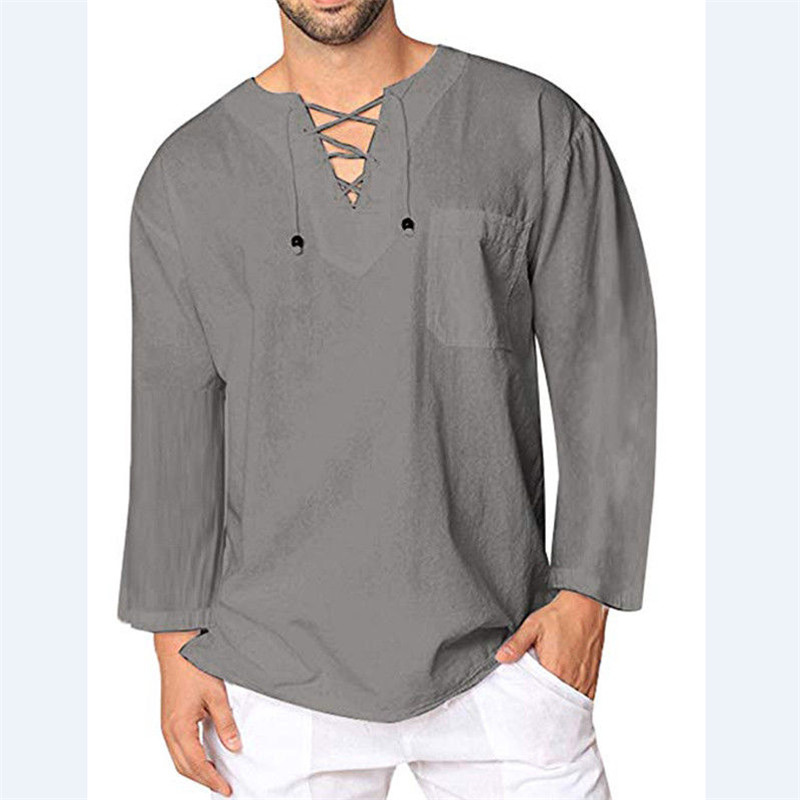 Mens Vintage Casual Loose Long Sleeve V Neck Retro Cotton Linen T Shirt Tee Tops