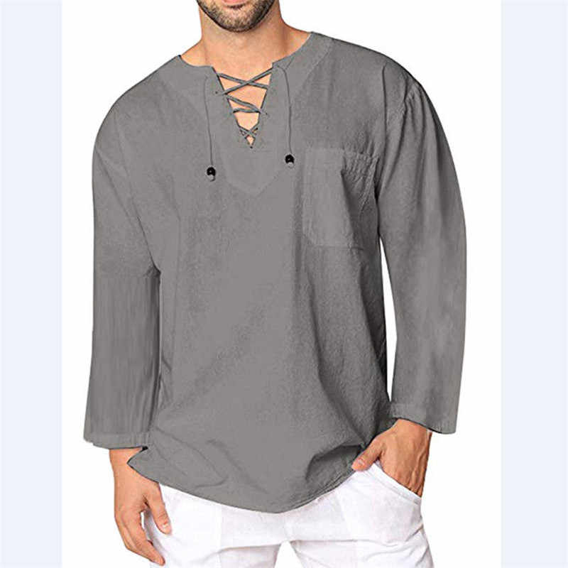 1c1e4a4d6 Mens Baggy Casual T Shirt Cotton Linen Tee Hippie Shirts Long Sleeve Yoga  Top Men Long