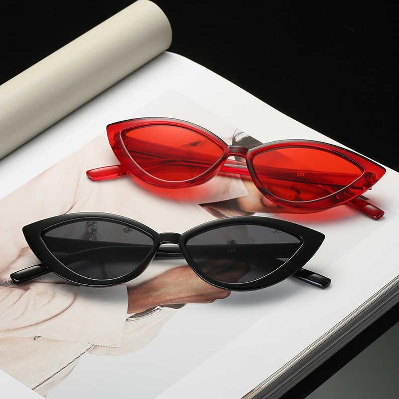 Baru Vintage Hitam Mata Kucing Kacamata Hitam Fashion Wanita Kacamata Hitam Merek Desain Cermin Bingkai Kecil Kucing Mata Berjemur Kacamata untuk Perempuan Warna UV400