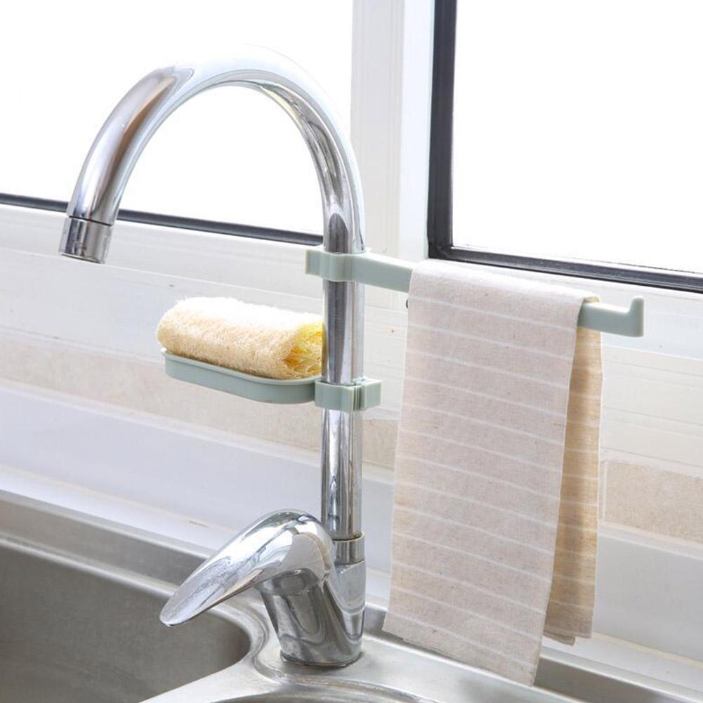 Adeeing Faucet Drain Rack Set For Kitchen Sink Sponge Cloth Storage