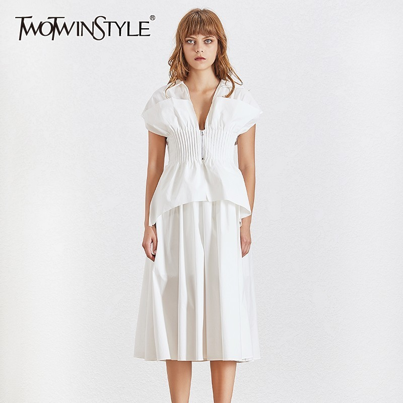 TWOTWINSTYLE Summer Slim Long Dress For Women Lapel Short Sleeve High Waist Ruched White Midi Dresses