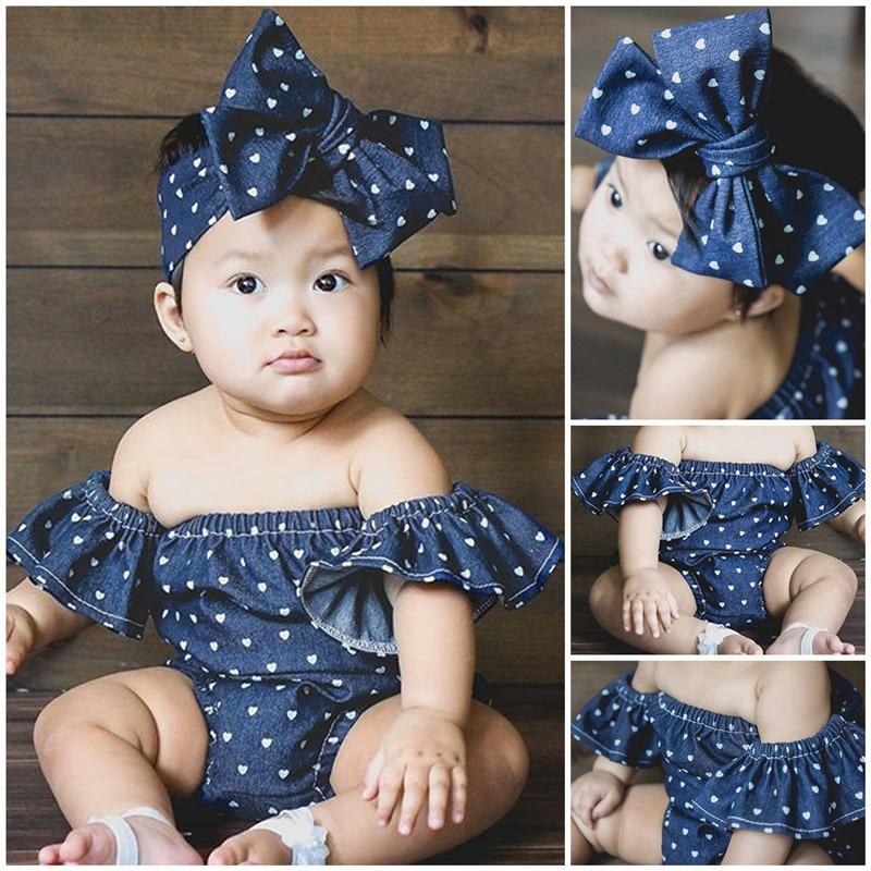 PUDCOCO Newest Newborn Kid Baby Girl Denim Blue Cotton 2pcs Outfits Summer Pop Bodysuit Headband Clothes 0-24M