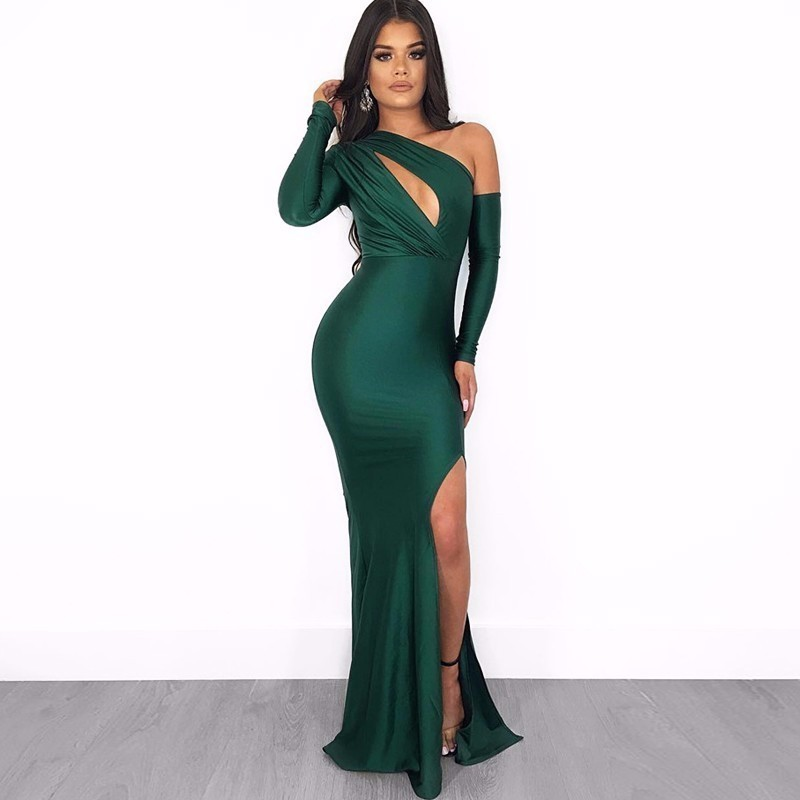 Sexy Reflective Celebrity Dresses Fron Hollow Out Special Occasion Dresses Deep V Neck Long Sleeve Party Dress Women Vestidos