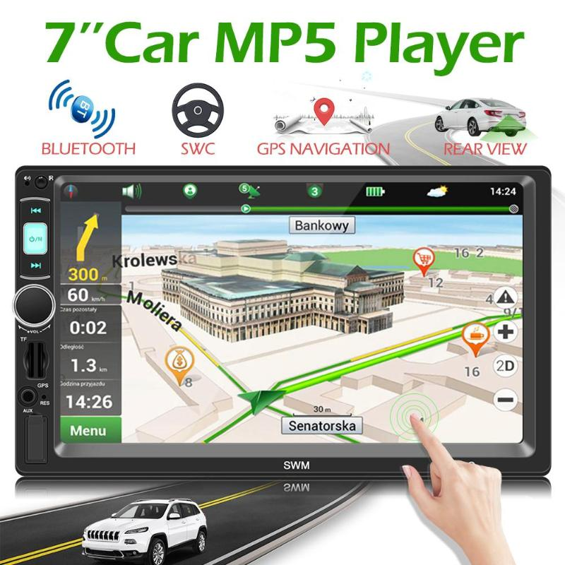 SWM X4G 7inch 2 Din Car Stereo MP5 Player BT Music Player GPS Navigation Head Unit Receiver FM Radio Autoaudio AUX USB With TF