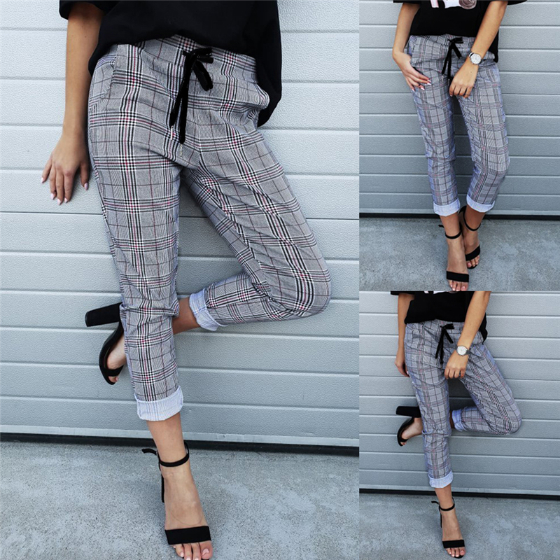 Women Harem   Pants   High Waist Skinny Trousers Sweatpants Vintage gray grid casual   pants   female streetwear   capris   summer   pants