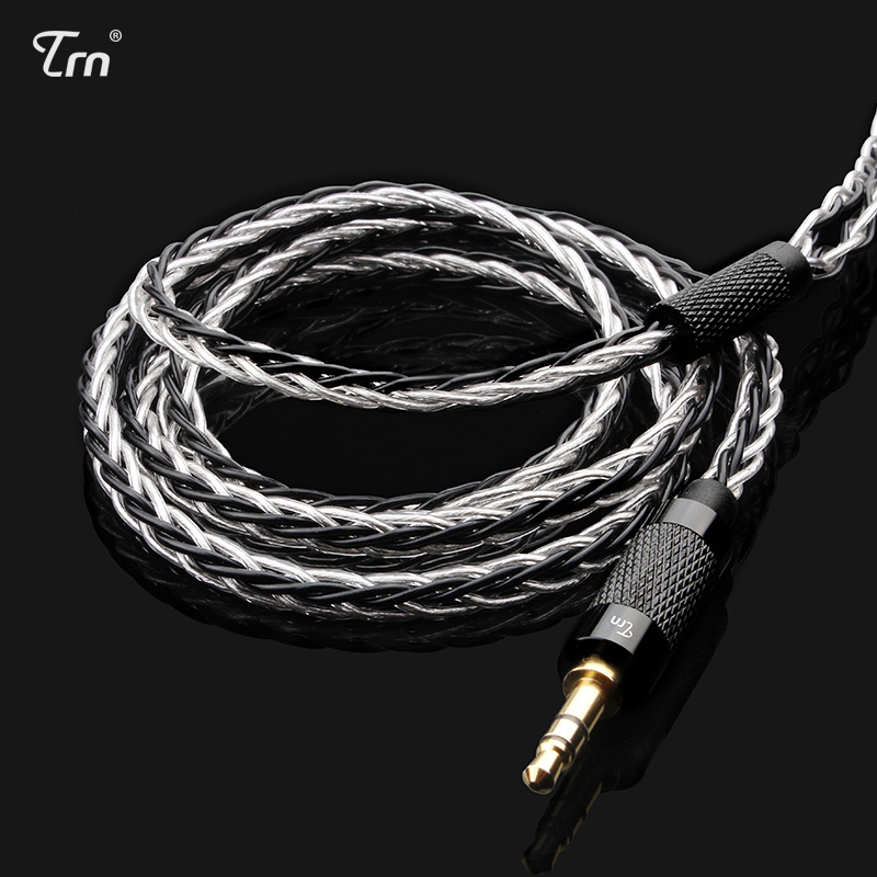 Trn Mmcx/2pin Connector 3.5/2.5 Balanced 8 Core Copper Silver Plated Mixed Cable For Trn V80/v20 Detachable Earphones Ture 100% Guarantee Earphone Accessories