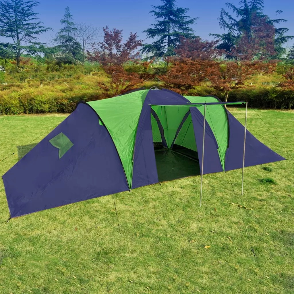 VidaXL Camping Tent Blue & Green Accommodate Up To 9 People Outdoor Waterproof Camping Hiking Tent Waterproof Large Family Tents