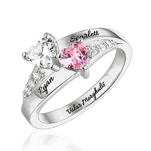 Sweey Wholesale Unique Jewelry Customized 2 Hearts Birthstone Couple Rings Engraved Names Silver/Gold/Rose Gold Valentines Gift