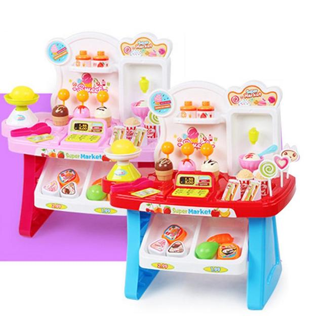 New Kids Simulation Mini Candy Cart Ice Cream Shop Supermarket Childrenu0027s  Toys Playing Home Baby Toys Small Carts Toy