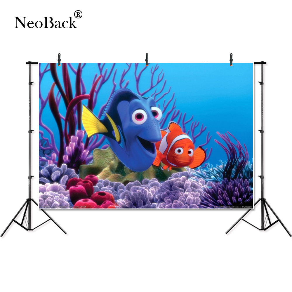 Thin Vinyl Finding Dory Nemo Under Sea Bed Children Kids Baby Photography Backgrounds Professional Indoor Studio Photo Backdrops