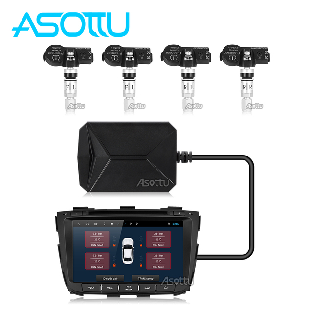 Sistema de Monitoreo de presión de neumáticos TPMS para reproductor de Radio Android 433,92 MHz receptor inalámbrico USB TPMS 4 sensores internos U disco
