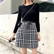 цена на 2018 Women Lace Up Woolen Mini Skirt Autumn Winter Plaid Skater Skirt Empire Vintage High Waist Skirt