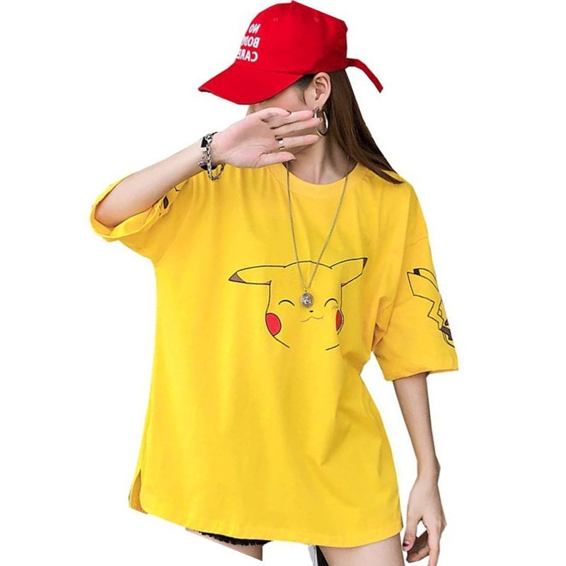new-font-b-pokemon-b-font-cartoon-pattern-t-shirts-women-kawaii-pikachu-print-summer-loose-top-girls-street-fashion-hip-hop-long-tees-plus-2xl