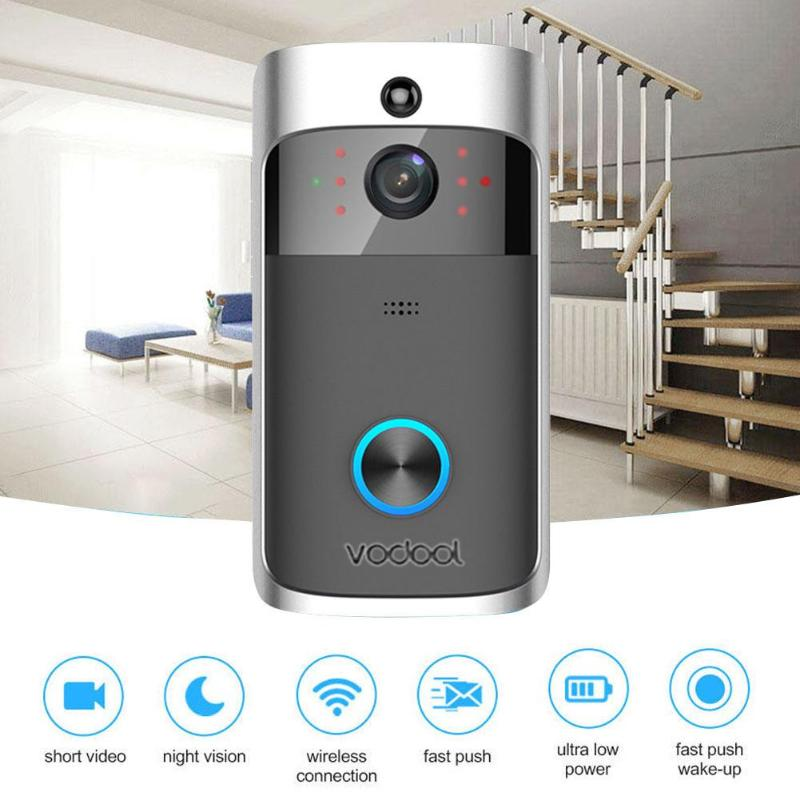 Vodool V5 Smart WiFi Video Doorbell 3x18650 Wireless Video Alarm 720p Visual Call Intercom Door Bell with 16GB TF Card DoorbellVodool V5 Smart WiFi Video Doorbell 3x18650 Wireless Video Alarm 720p Visual Call Intercom Door Bell with 16GB TF Card Doorbell