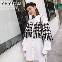 CHICEVER Patchwork Plaid Dresses For Women Lapel Long Sleeve Single Breasted Tassel Hit Colors Split Dress Autumn Fashion Tide
