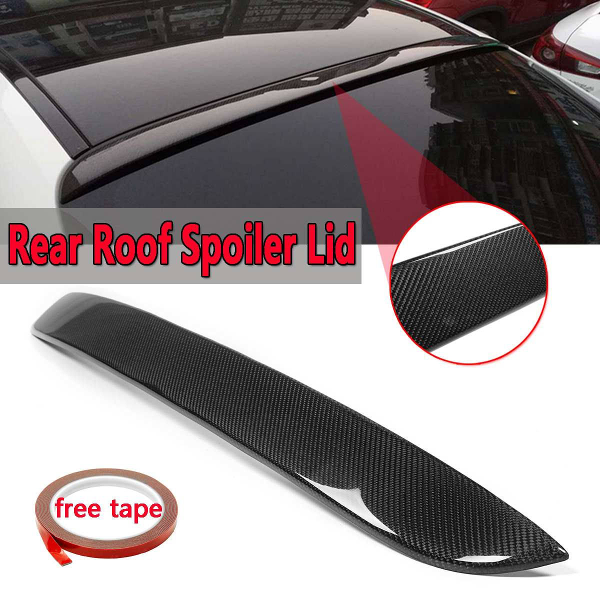 High Quality Car Real Carbon Fiber Rear Roof Spoiler Wing Lid For Mercedes For Benz W205 C300 C400 C63 2015-17 Rear Wing Spoiler