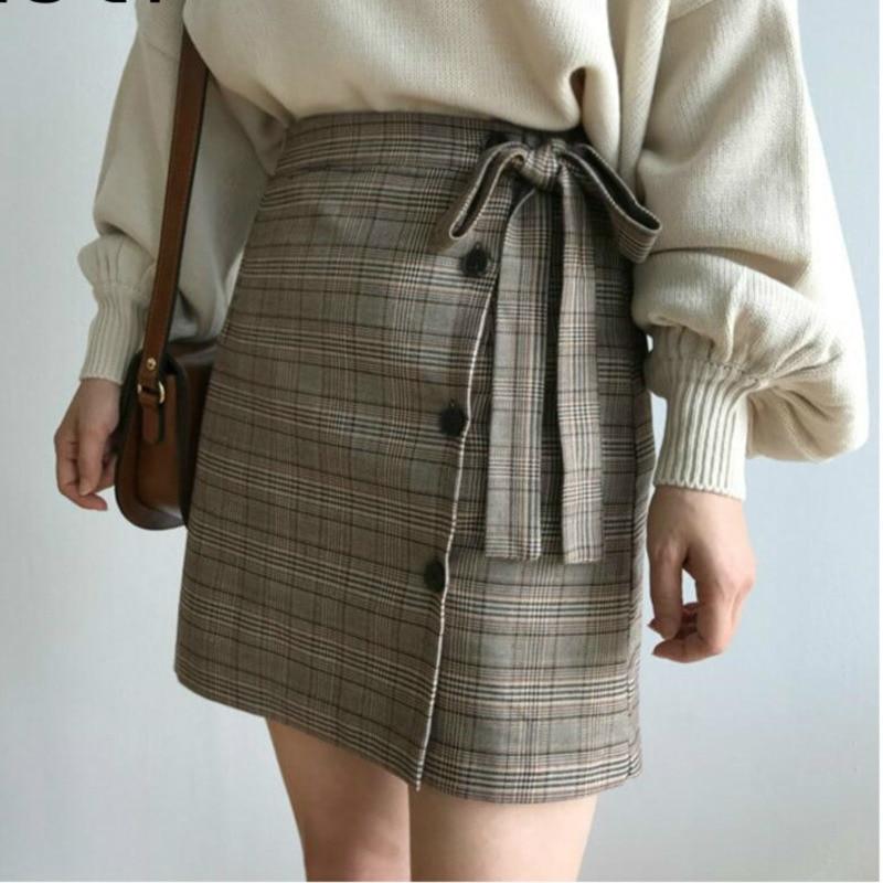 Casual Mini Plaid Skirt Women 2019 Summer New Korean Bow Striped Cotton High Waist A-line Tweed Skirt Harajuku Japanese Rok H823