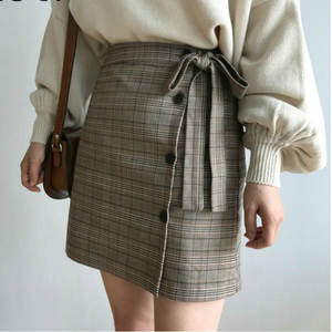 Plaid Skirt A-Line Korean-Bow Harajuku Japanese Striped High-Waist Mini Cotton Casual