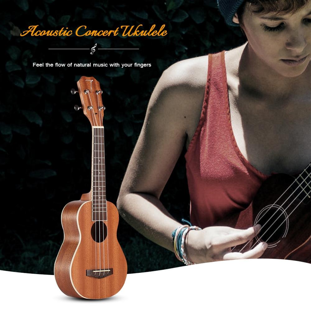 TUS-200B Concert acoustique Soprano ukulélé avec sac de transport musique guitare 4 cordes sapélé palissandre Instruments de musique cadeaux