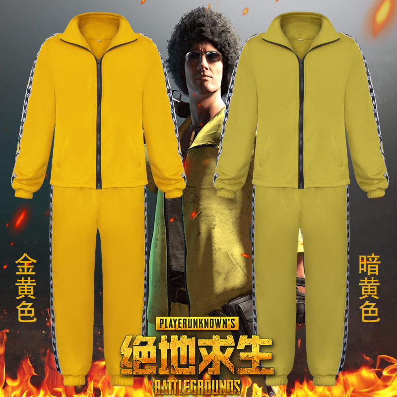 2018 PUBG Playerunknown Battle Fields Cosplay Little yellow blouse pants suit Battle character uniform Zipper jacket Sportscoat