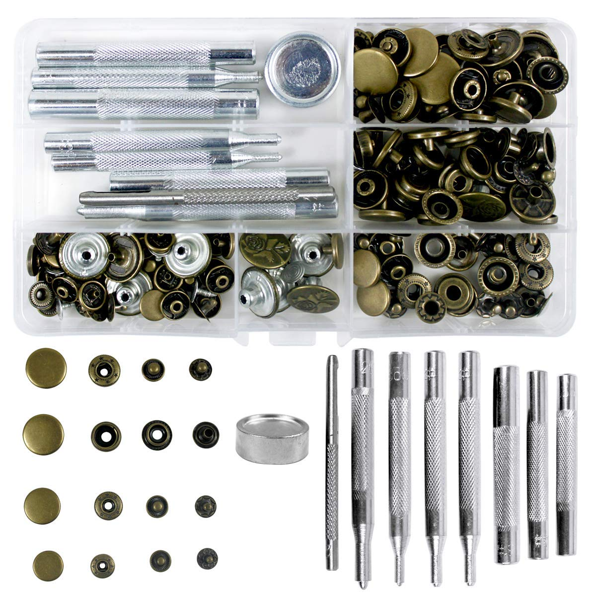 50 conjunto de 4 tamanhos rebites de couro único tampão rebite studs de metal tubular com 9 peças ferramenta de fixação para artesanato de couro diy, rebites rep