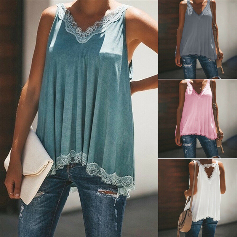 New Summer Women Clothes Lace Loose Casual Blouses Lady Sleeveless V-neck Sexy Shirt Tops