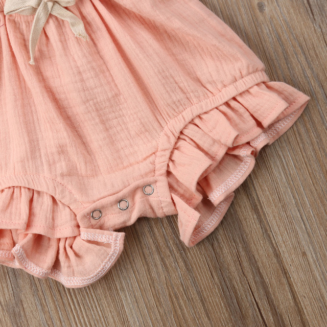 Citgeett sUMMER Newborn Baby Girls Ruffle Solid Color Bodysuit Jumpsuit Outfits Summer Casual Clothing Sunsuit 5