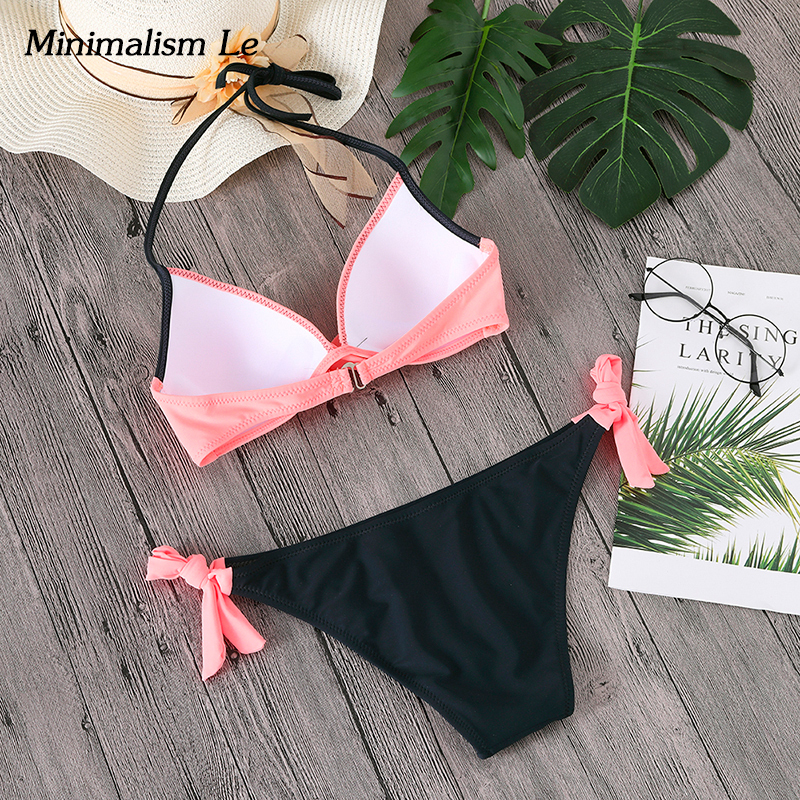Minimalism Le Push Up Bikini Cross Patchwork Women Swimwear Swimsuit