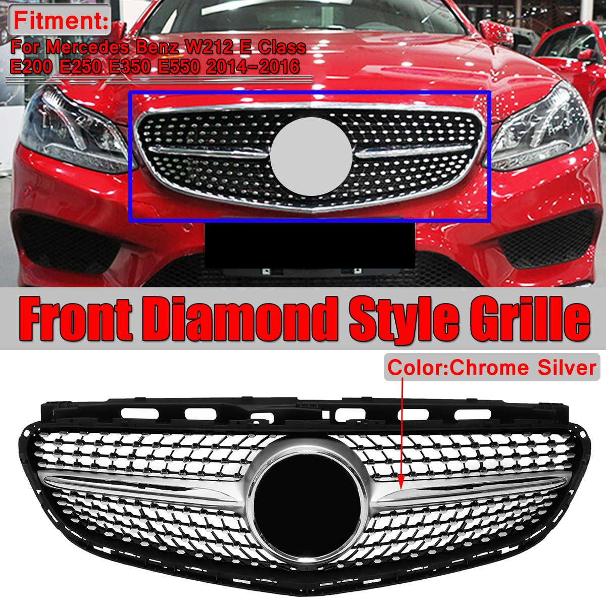 Diamond Style W212 Car Front Bumper Grille Grill For Mercedes For Benz W212 E Class E200 E250 E350 E550 2014-2016 Racing GrillsDiamond Style W212 Car Front Bumper Grille Grill For Mercedes For Benz W212 E Class E200 E250 E350 E550 2014-2016 Racing Grills
