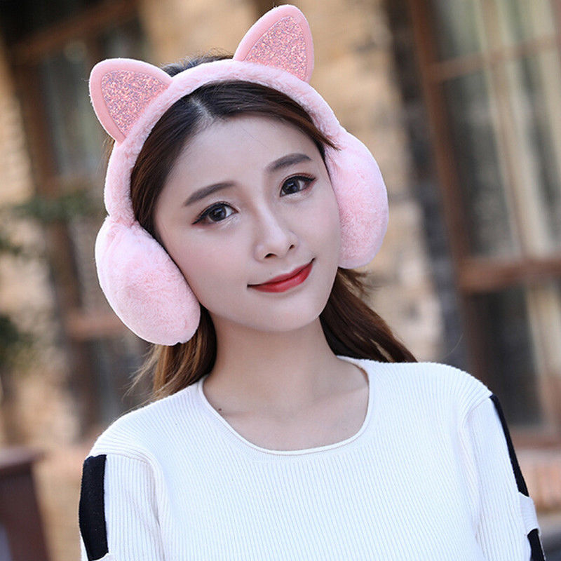 2019 Fashion New Protect Cute Faux Soft Fluffy Winter Novelty Girl Cat Warm Women Earmuffs Fur Ear